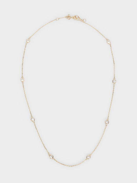 Short 925 Silver Necklace With Rhinestones, , hi-res