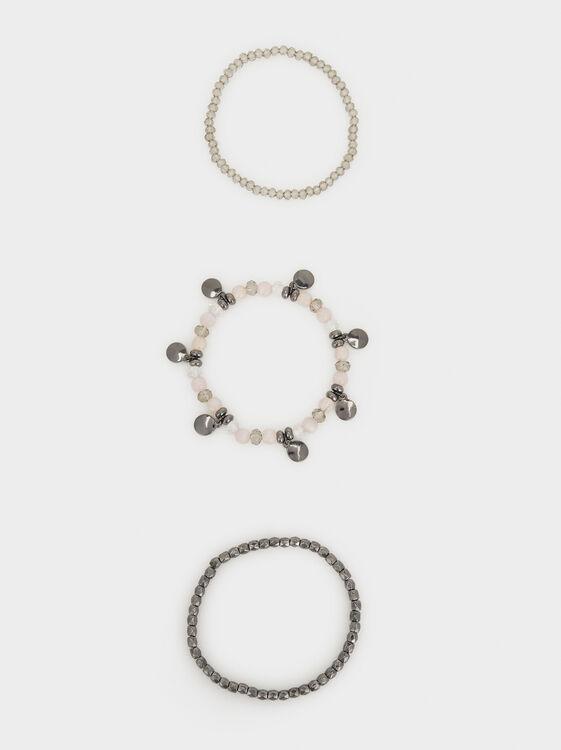 Cosmic Pink Elasticated Bracelet Set, Multicolor, hi-res