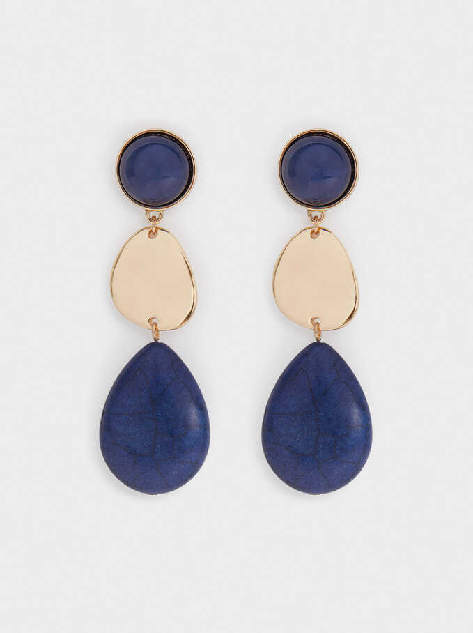 Extra Long Earrings With Stone, Blue, hi-res