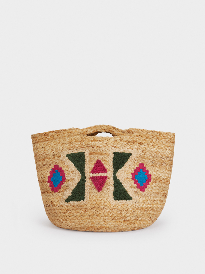 100% Jute Shopper Bag With Embroidery, Beige, hi-res