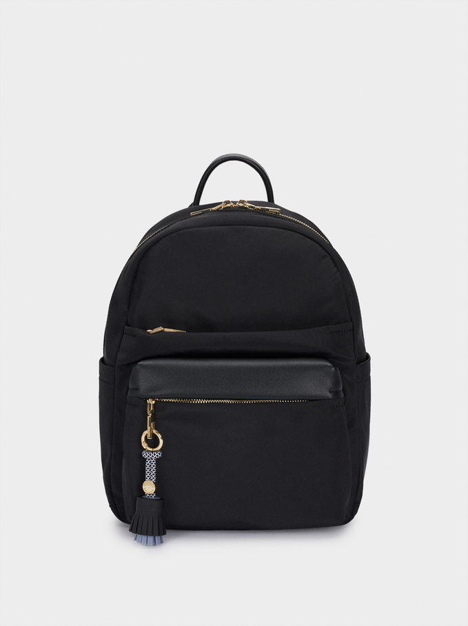 Nylonowy Plecak Z Ozdobnym Chwostem, Czarny, hi-res