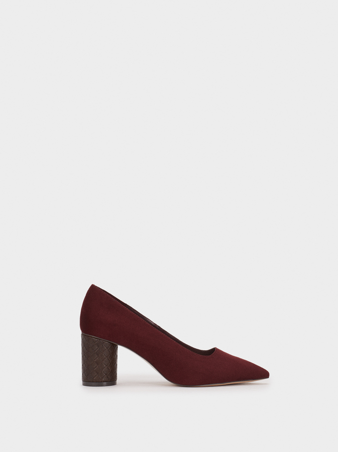 Online Exclusive Shoes With Woven Heel, Bordeaux, hi-res