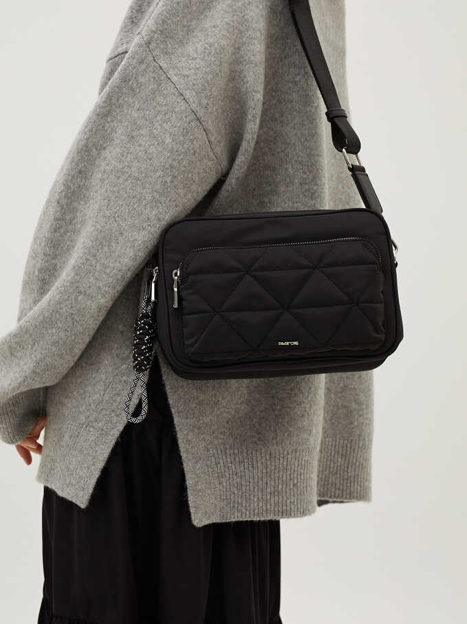 Nylon Quilted Crossbody Bag, Black, hi-res