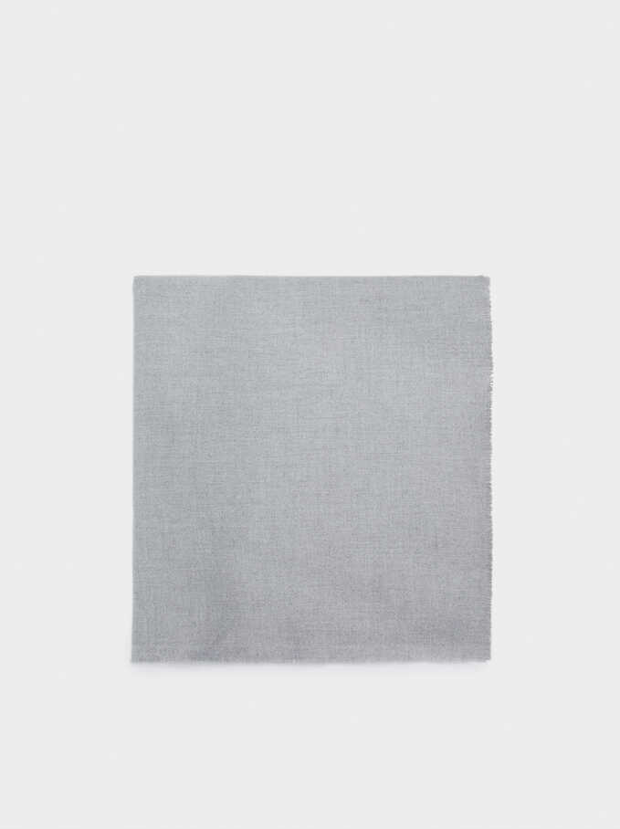 Plain Maxi Scarf, Grey, hi-res