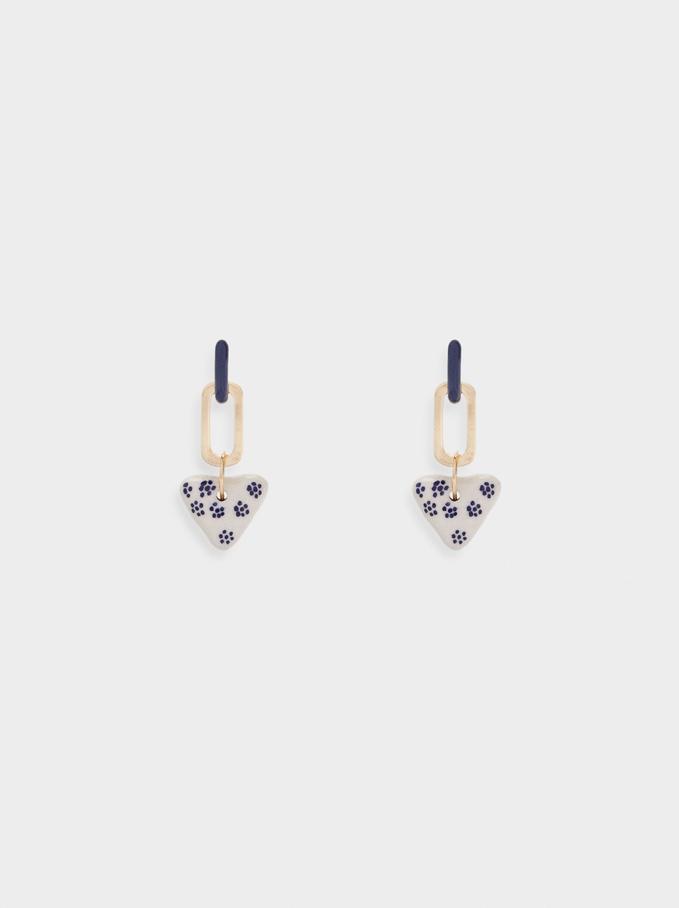 Long Detachable Earrings, Blue, hi-res