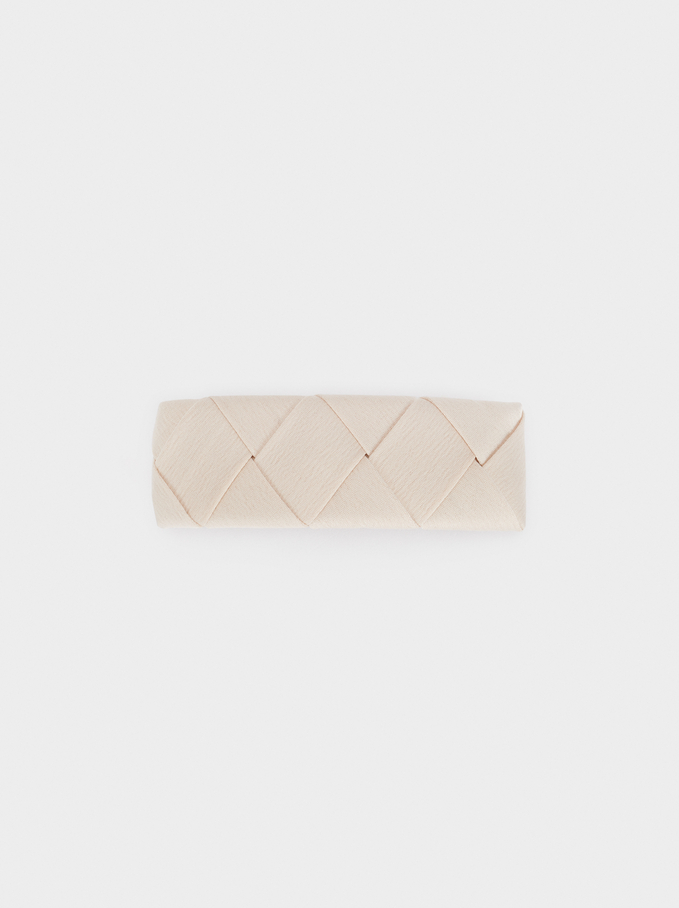Braided Fabric Hairclip, Beige, hi-res