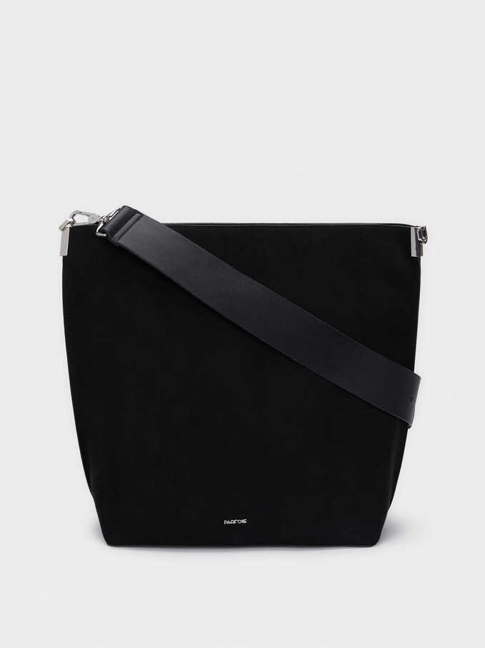 Faux Suede Shoulder Bag With Detachable Shoulder Strap, Black, hi-res