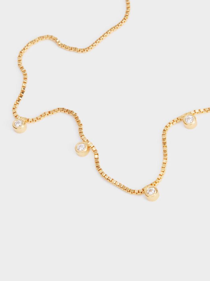 Pulseira Ajustável De Prata 925 Com Zirconias, Dourado, hi-res