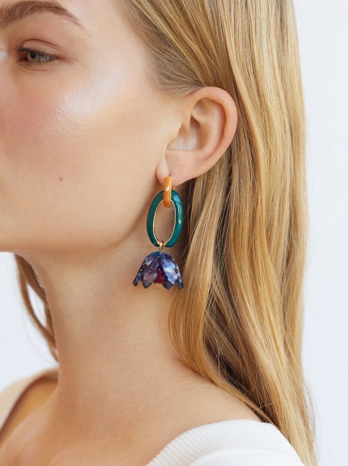 Long Earrings With Flower Pendant, Multicolor, hi-res