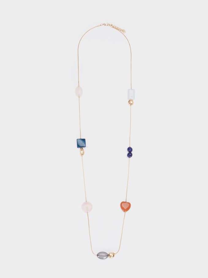 Collier Long Avec Pierres Multicolore, Multicolore, hi-res
