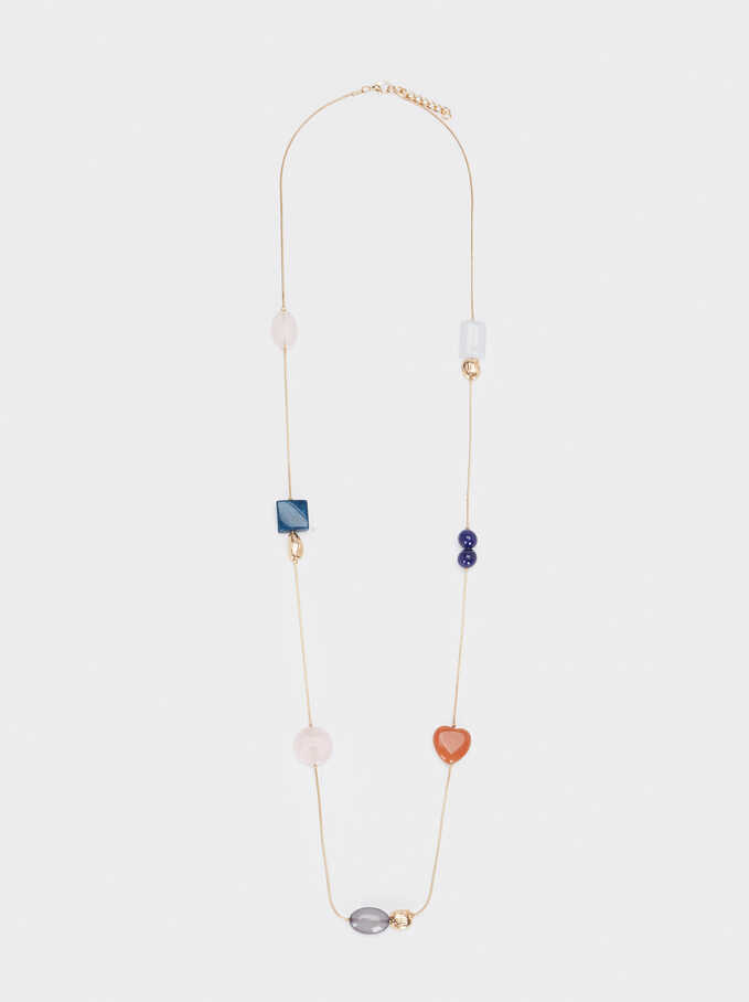 Long Necklace With Multicoloured Stones, Multicolor, hi-res
