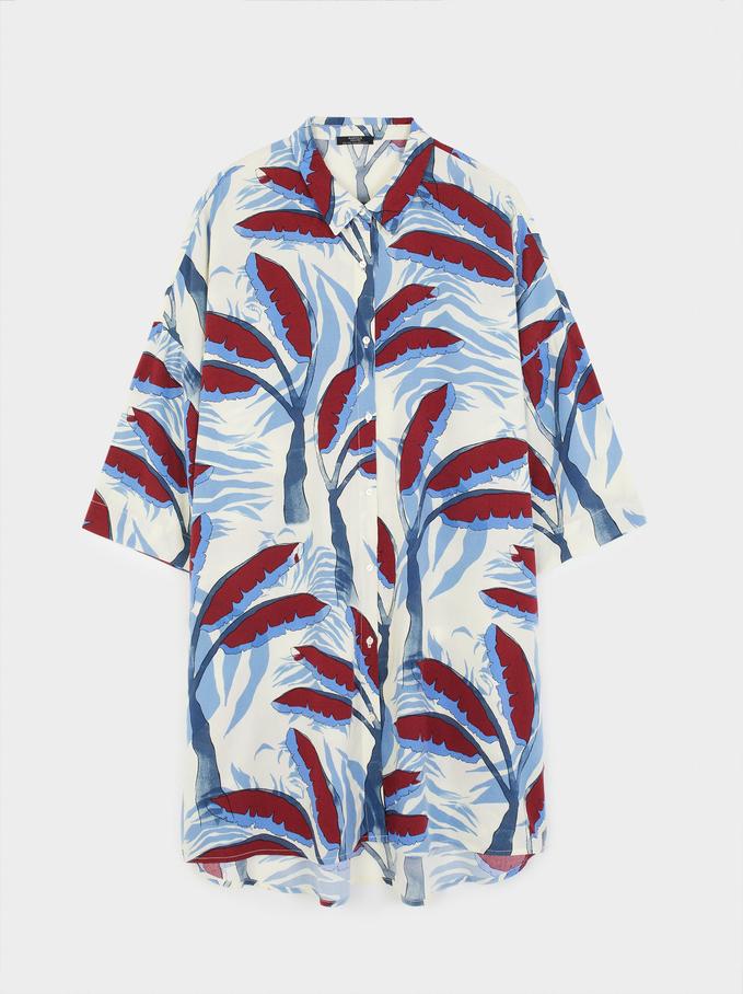 Printed Shirt Dress, Ecru, hi-res