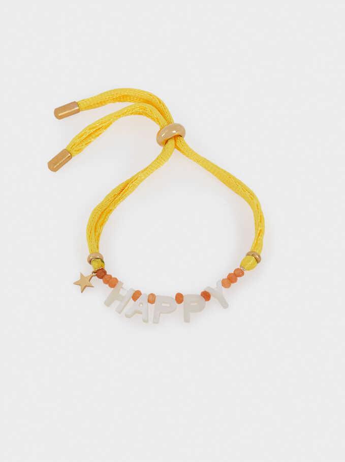 Adjustable Stainless Steel Happy Bracelet, Multicolor, hi-res