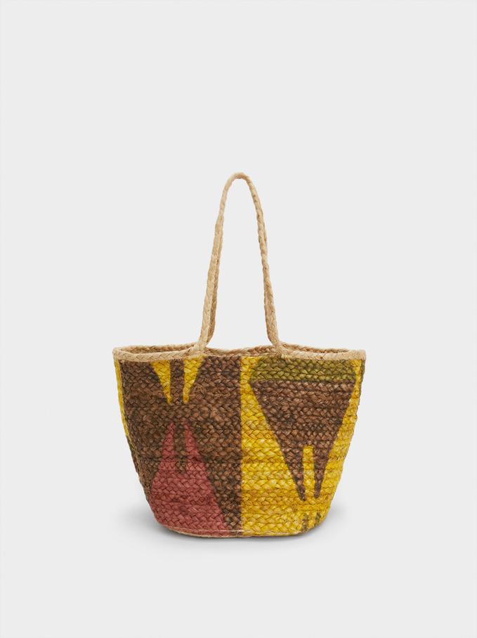 Jute Tote Bag, Yellow, hi-res