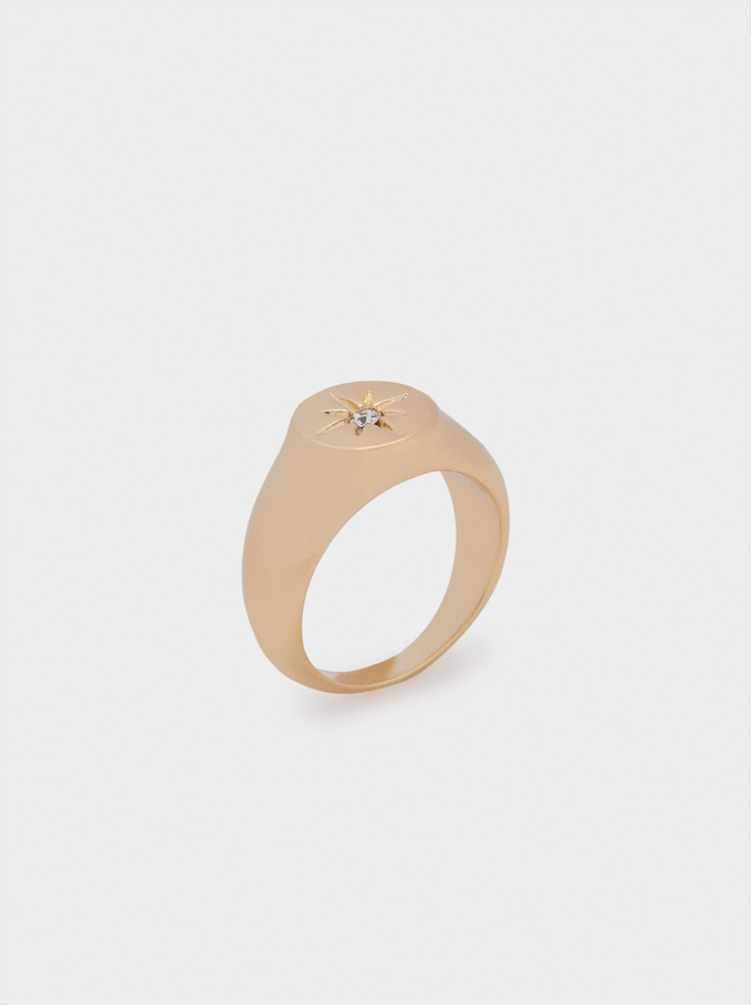Pinky Finger Star Signet Ring, Golden, hi-res