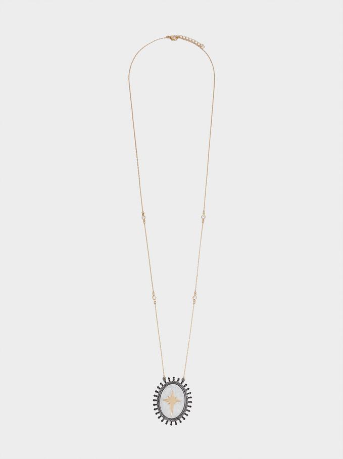 Collier Long Médaillon Coquillage Et Cristaux , Multicolore, hi-res