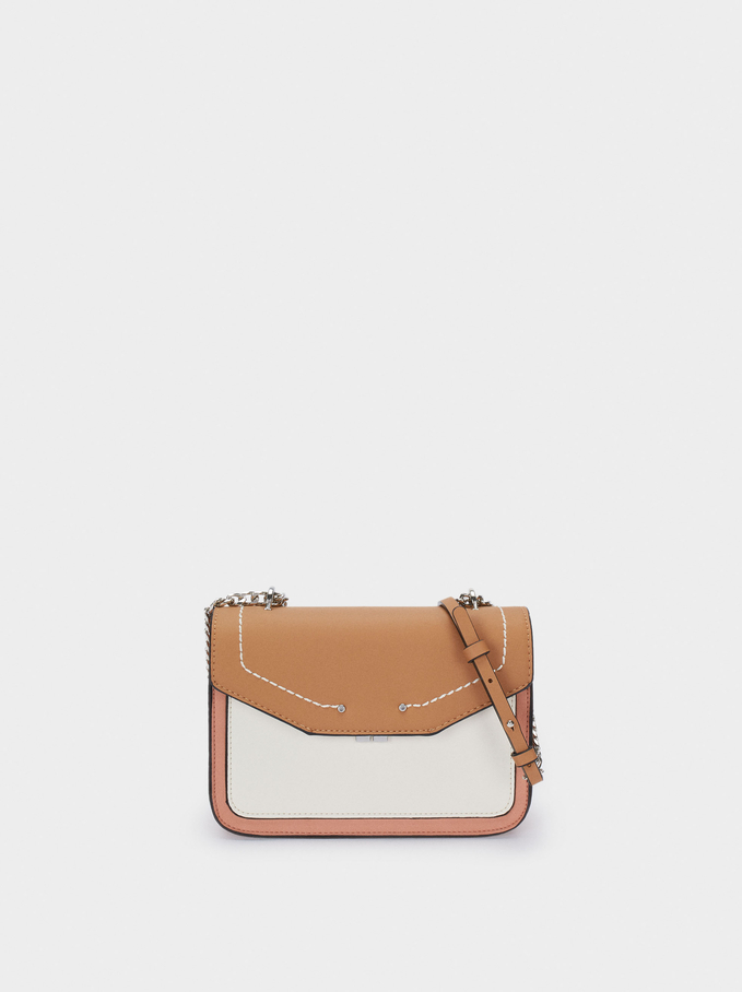 Contrast Crossbody Bag With Chain Strap, Pink, hi-res