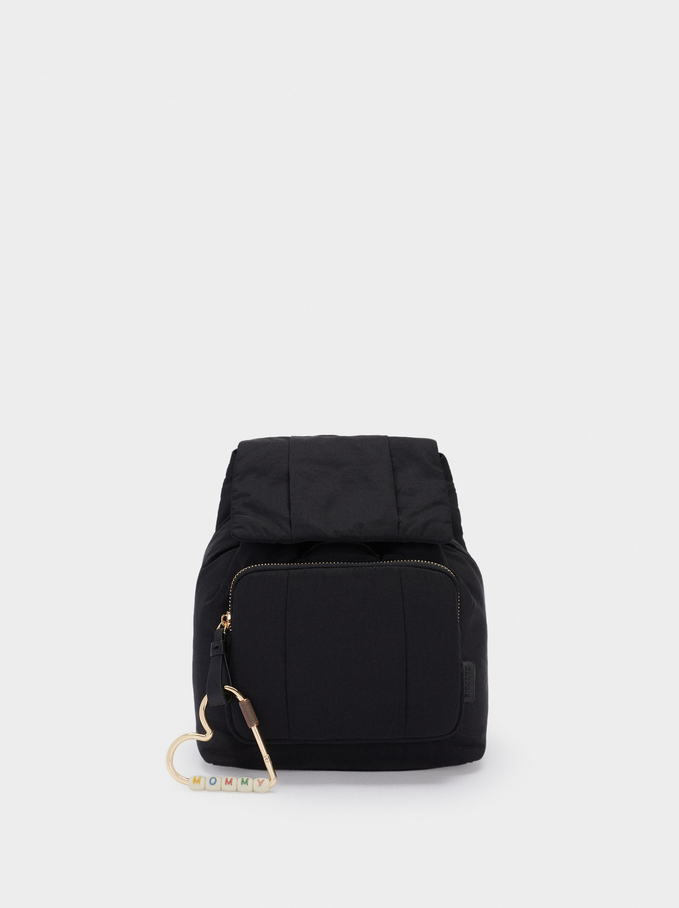 Two-Way Nylon Backpack, Black, hi-res