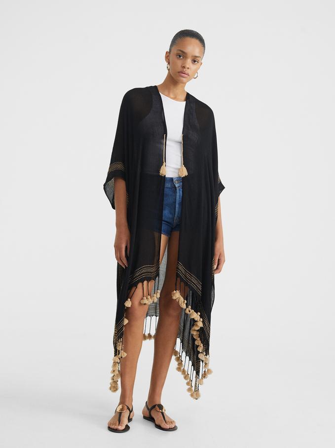 Plain Kimono With Tassels, Black, hi-res