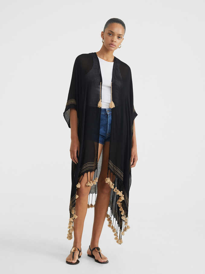 Kimono Liso Con Borlas, Negro, hi-res