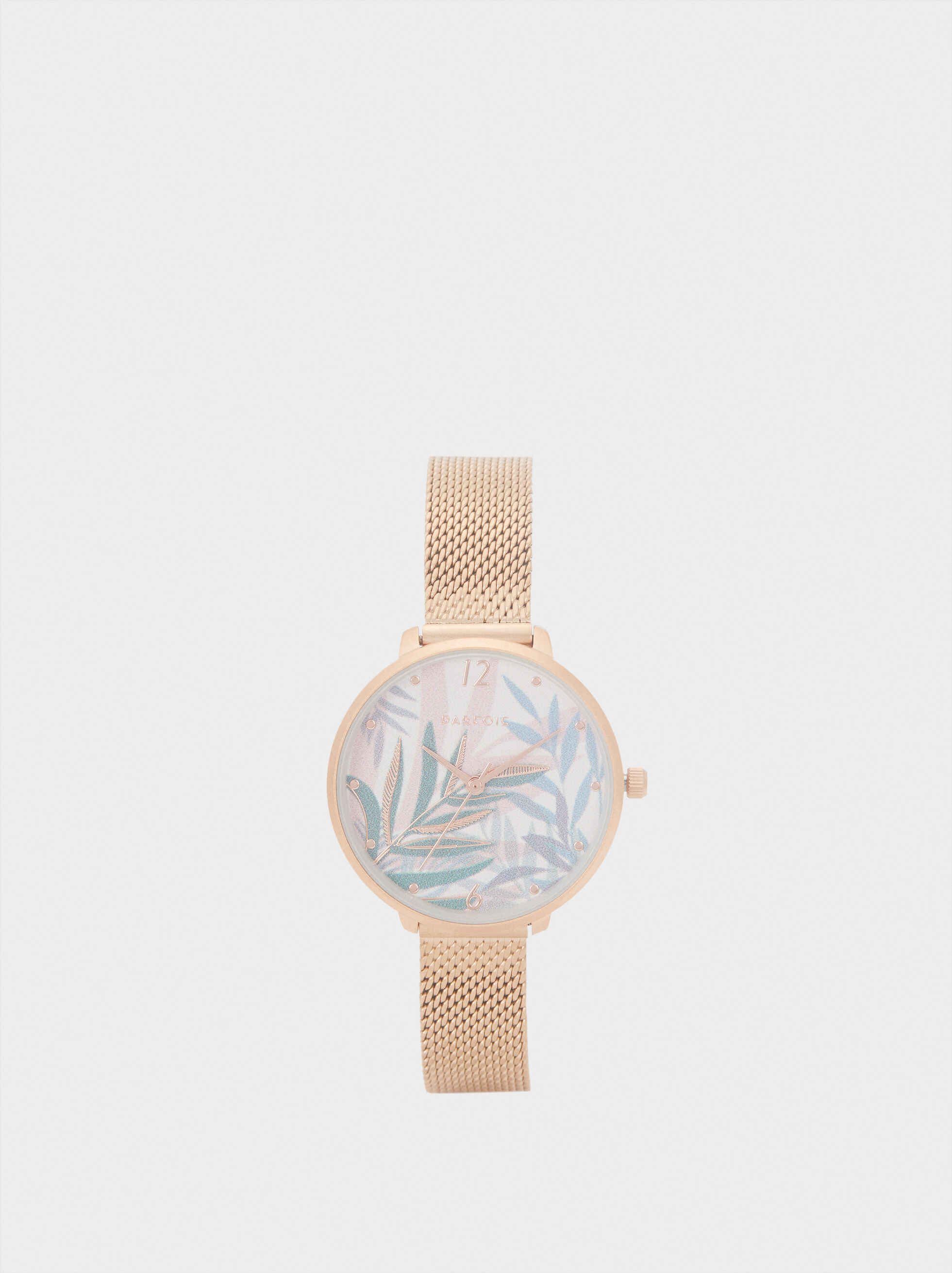 Watch With Metallic Mesh Strap And Floral Face, Orange, hi-res