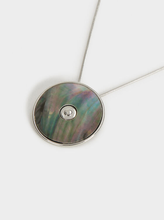Short Necklace With Pendant, Silver, hi-res