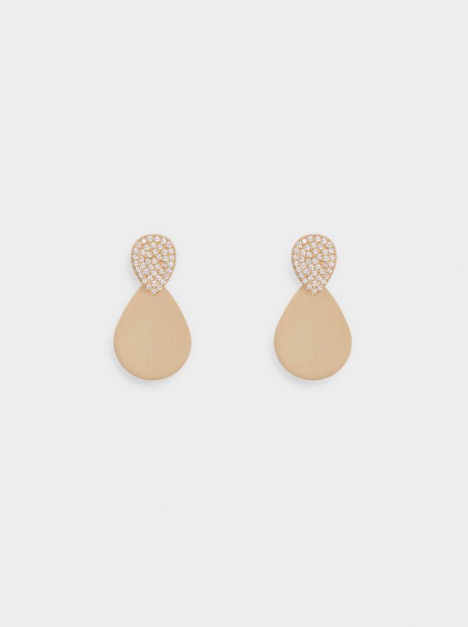 Golden Earrings With Zirconia, Golden, hi-res