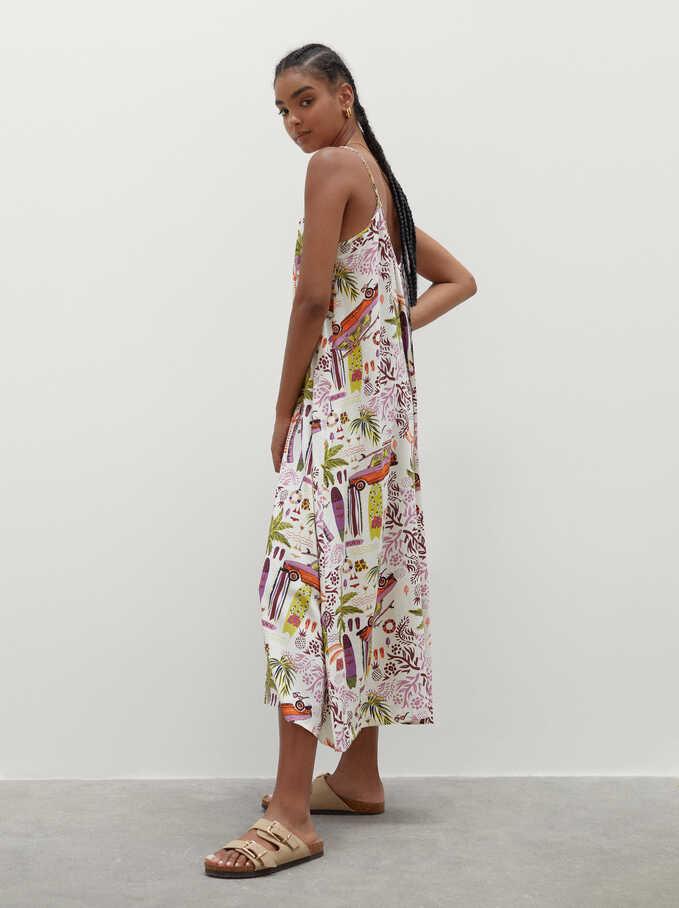 Printed Dress With Straps, Ecru, hi-res