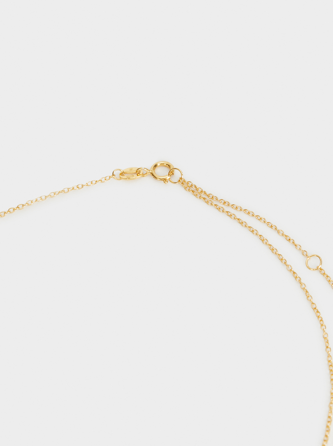 Short 925 Silver Necklace With Moon And Zirconia, Golden, hi-res