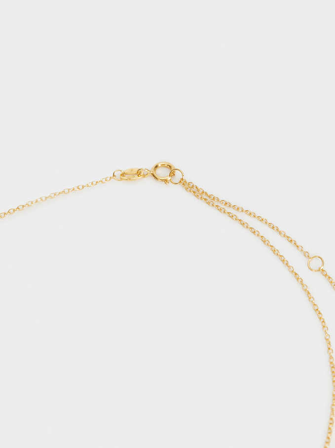 Short 925 Silver Necklace With Moon Pendants, Golden, hi-res