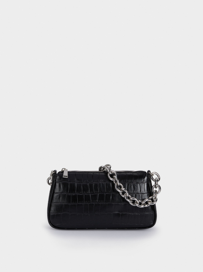 Animal Embossed Crossbody Bag, Black, hi-res