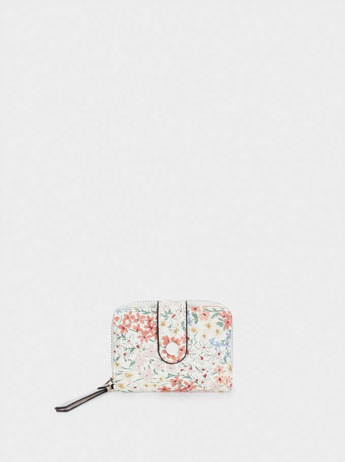 Cartera Compacta Estampado Floral, Blanco, hi-res
