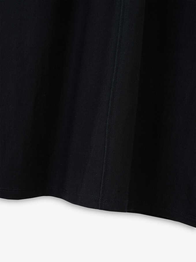 Flowing V-Neck Dress , Black, hi-res