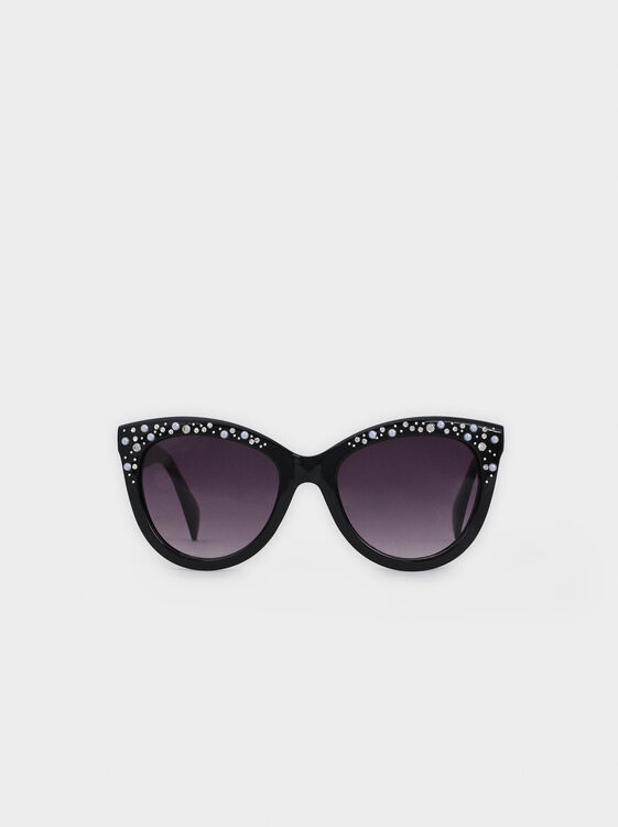 Sunglasses With Faux Pearls And Rhinestones, Black, hi-res