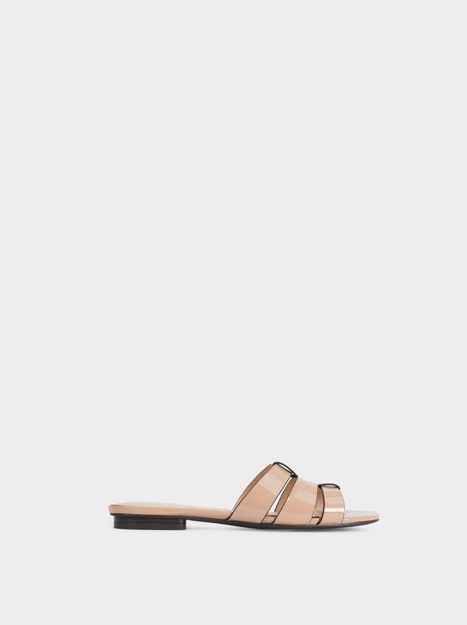 Flat Strappy Sandals, Beige, hi-res