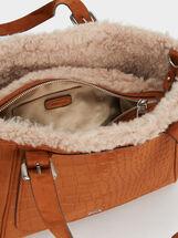 Textured Faux Suede Tote Bag, Camel, hi-res