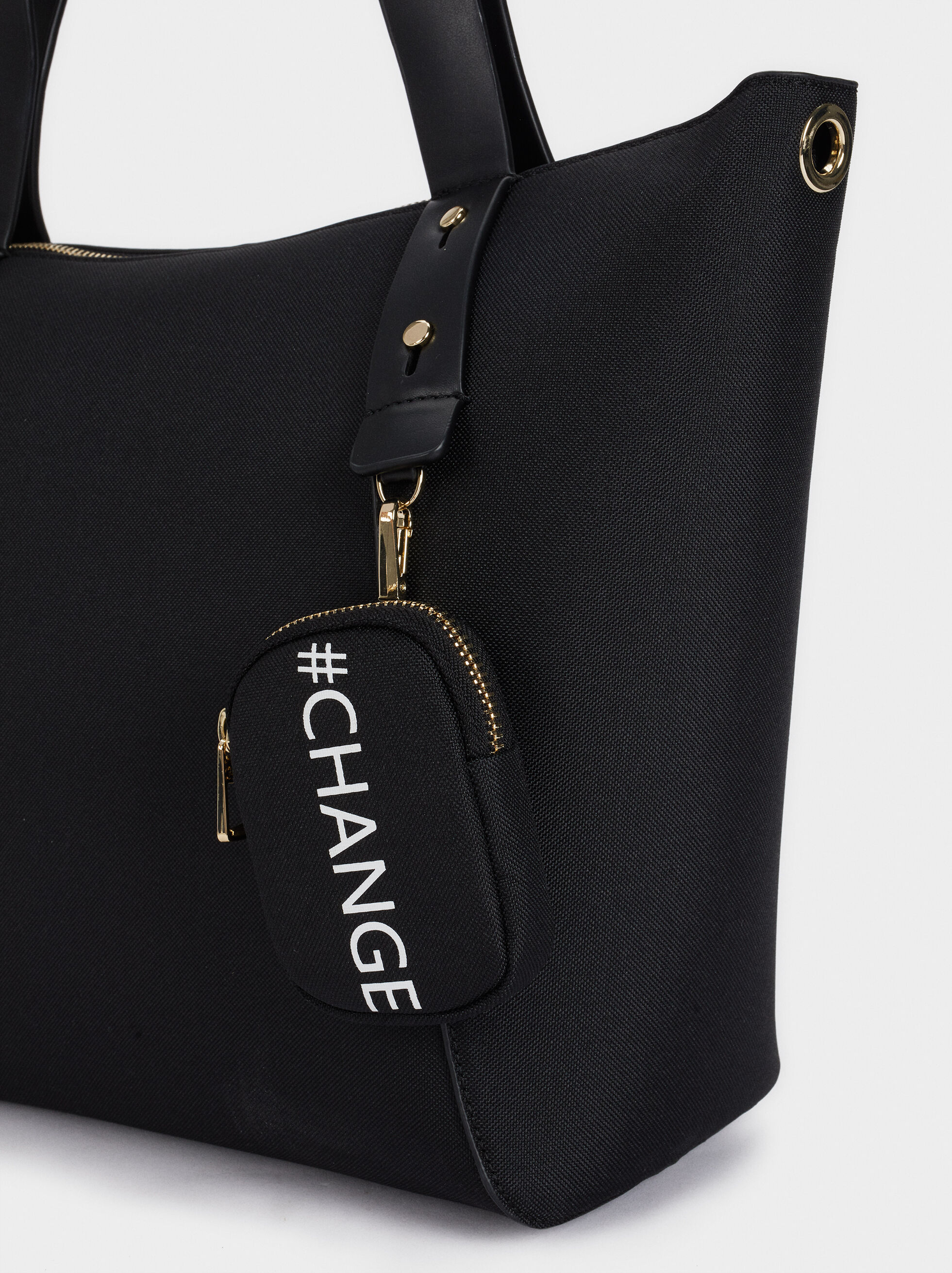 Shopper Bag Made With Recycled Materials, Black, hi-res
