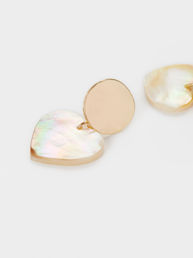 Watercolor Small Earrings With Hearts, Golden, hi-res
