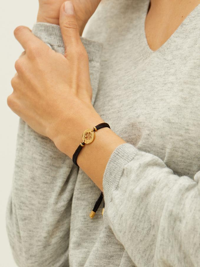 Bracelet Réglable En Acier Trèfle, Noir, hi-res