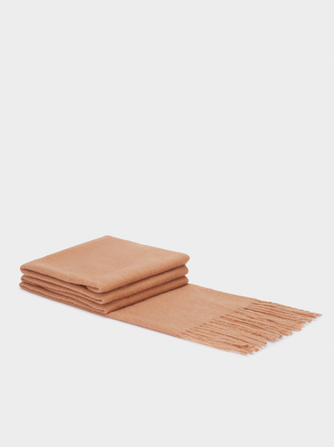 Maxi Scarf With Fringes, Camel, hi-res