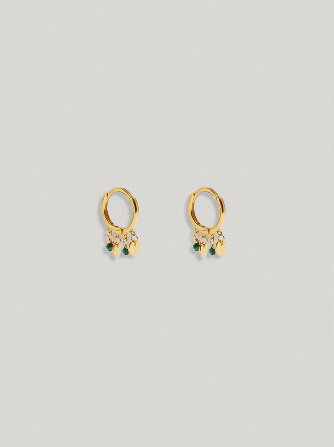 925 Sterling Silver Small Hoop Earrings With Pendants, Green, hi-res