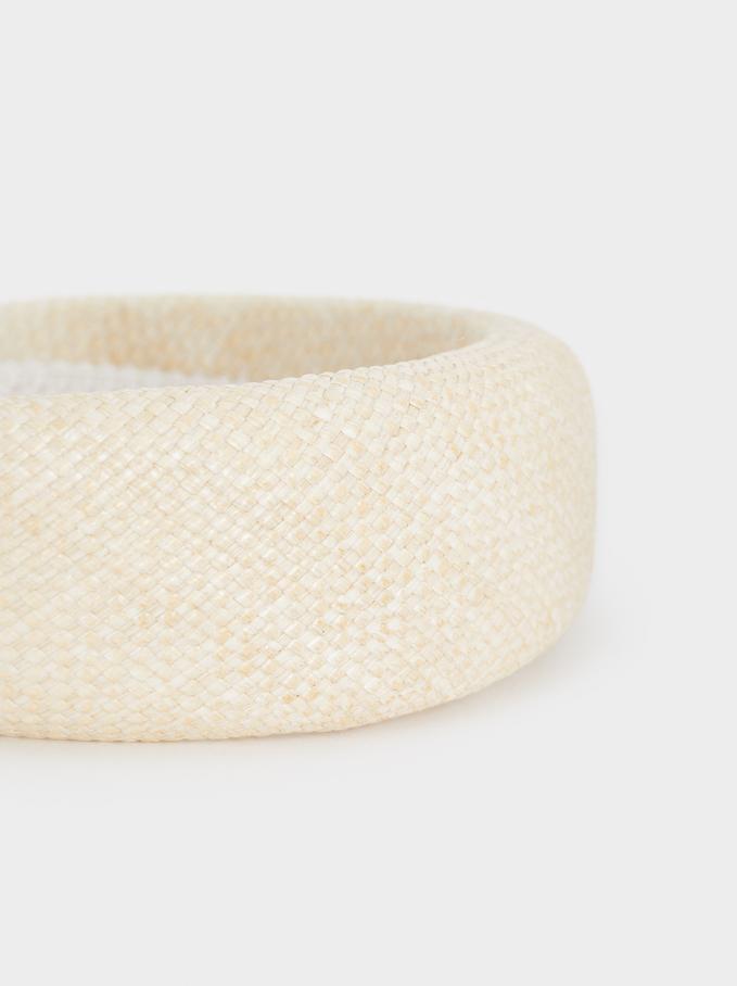 Raffia Rigid Headband, Beige, hi-res