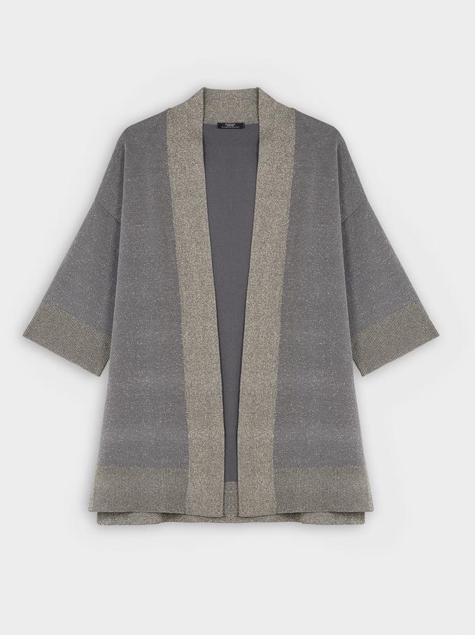 Open Knit Kimono, Grey, hi-res