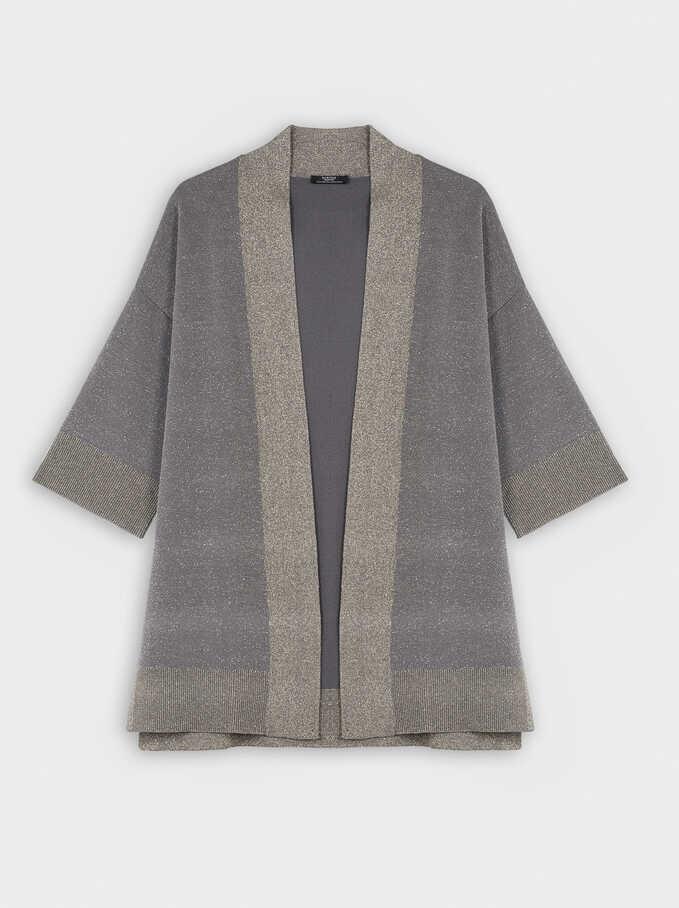Kimono De Punto Abierto, Gris, hi-res