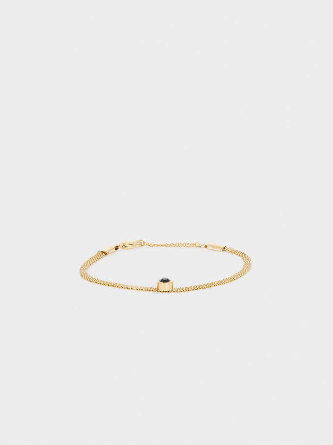 Golden Stainless Steel Bracelet With Crystal, Golden, hi-res