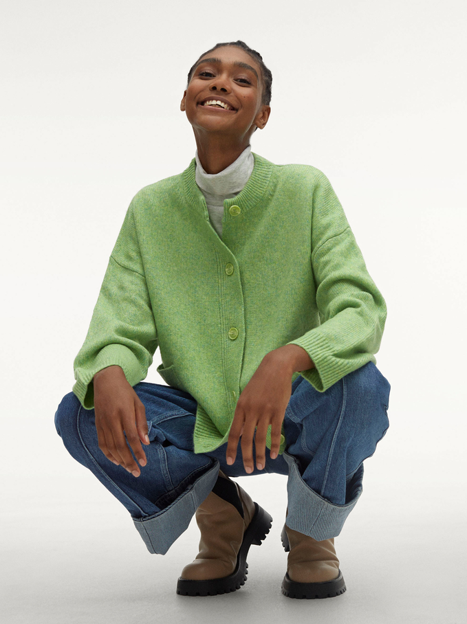 Round-Neck Knit Sweater, Green, hi-res