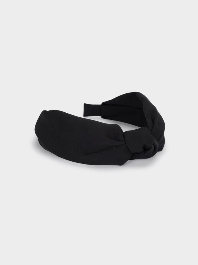 Wide Headband With Knot, Black, hi-res