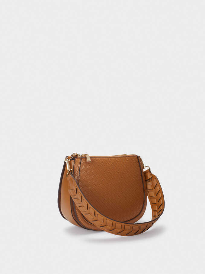 Woven Crossbody Bag With Strap, Camel, hi-res