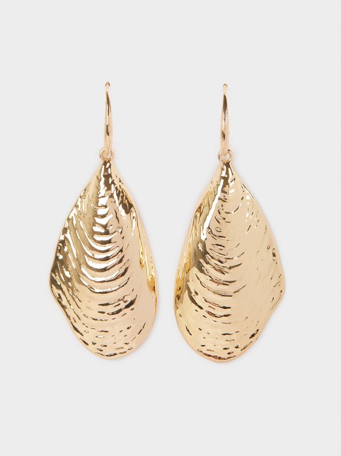 Large Seashell Earrings, Golden, hi-res