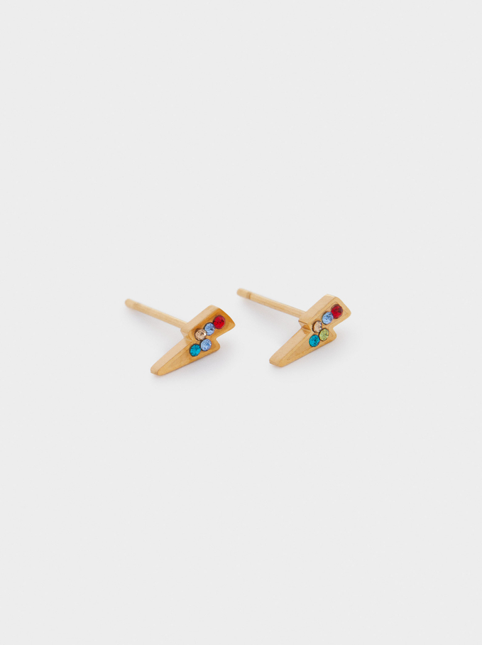 Short Stainless Steel Earrings With Crystals , Golden, hi-res